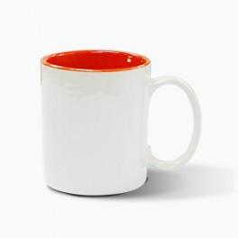 hrnek bílý - vnitřek oranžový