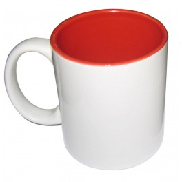 hrnek bílý - vnitřek červený