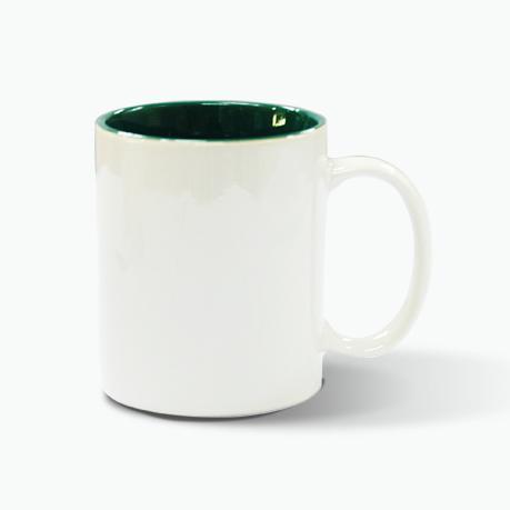 hrnek bílý - vnitřek zelený